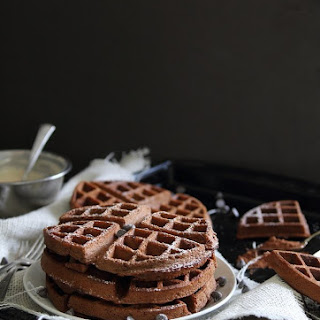Chocolate Waffles With Peanut Butter Yogurt Sauce