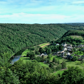 La semois by Dominic Jacob - Landscapes Travel ( village, green, meadow, belgium, forest, meadows, semois, river,  )