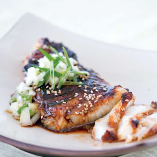 Sea Bass with Soy Glaze and Cucumber Salsa.