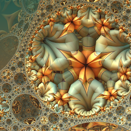 Maniacs' Mix Mode Challenge by Glenda Popielarski - Illustration Abstract & Patterns ( mandelbulb3d, orange, aqua, mandelbulb, fractal, abstract, digital art )
