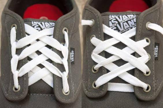 Cách thắt dây giày Vans theo kiểu kim cương 555