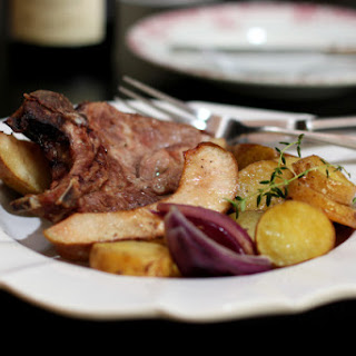 Pork Chops with Roquefort Butter and Pears