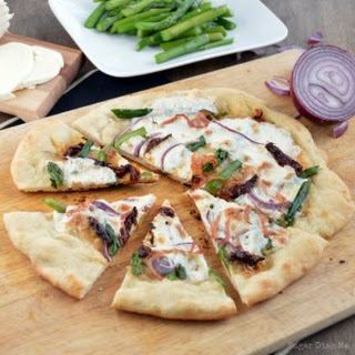 Sun Dried Tomato and Asparagus Pizza.