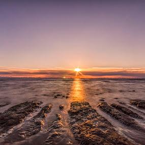 Serenity by Graham Kidd - Landscapes Sunsets & Sunrises ( sky, sunset, twilight, rocks, sun )