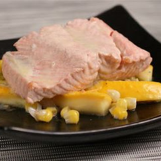 Poached Salmon with Corn and White Wine–Butter Sauce