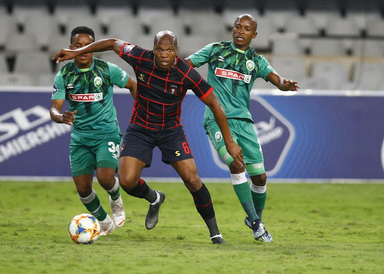 Mlungisi Mbunjana of TS Galaxy during the DStv Premiership 2020/21 game between AmaZulu and TS Galaxy at Kings Park Stadium on 24 April 2021.