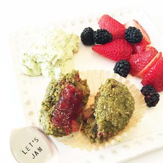 Matcha & Strawberry Bran Muffins