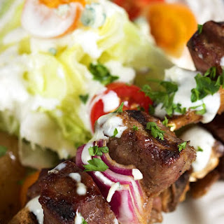 Grilled Steak and Mushroom Kabobs with Blue Cheese Sauce.