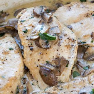 Chicken Cutlets with Mushroom Cream Sauce.