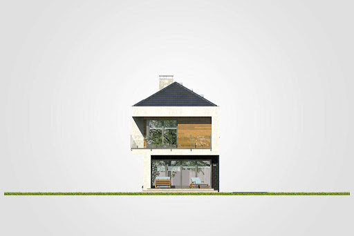 Modern House II - Elewacja tylna