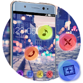 Stylish Romantic Theme: Neon Night Street Launcher APK Icon