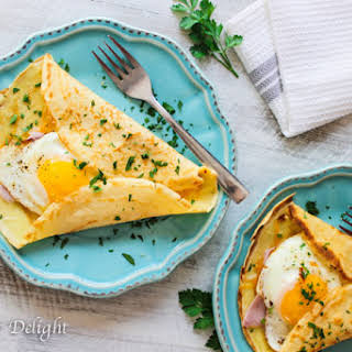 Crepes With Egg, Ham And Cheese.