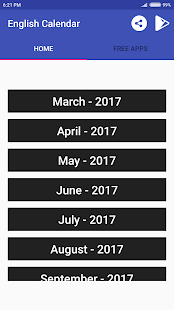 English Calendar 2017 - náhled