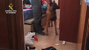 Imagen del registro de la vivienda por parte de la Guardia Civil.