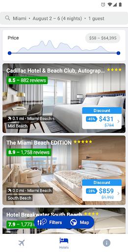 Capturas de pantalla de hoteles y vuelos 1