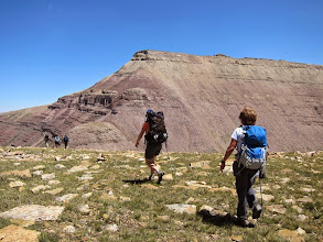 Photo: Heading back down. Gunsight Peak in the background and the steep, loose, rotten scree route I went up.