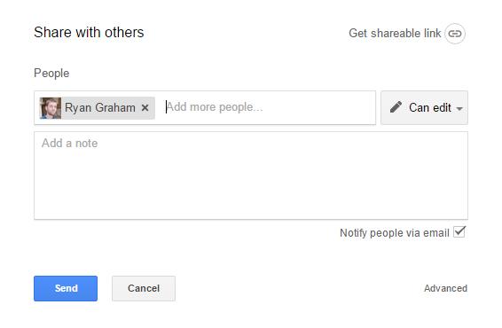Sharing window for Google Drive