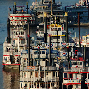 Rush Hour by John Berry - Transportation Boats ( tall stacks, boats, river, paddle wheelers, steamboats )