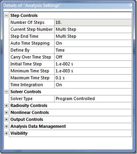 ANSYS - Панель настроек Analysis Settings приобрела следующий вид