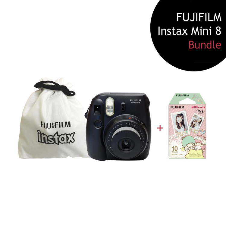 [Bundle] FUJIFILM Instax Mini 8 Camera (Black) + Kikilala Film Pack + Instax Pouch by My Pocket Net Sdn Bhd