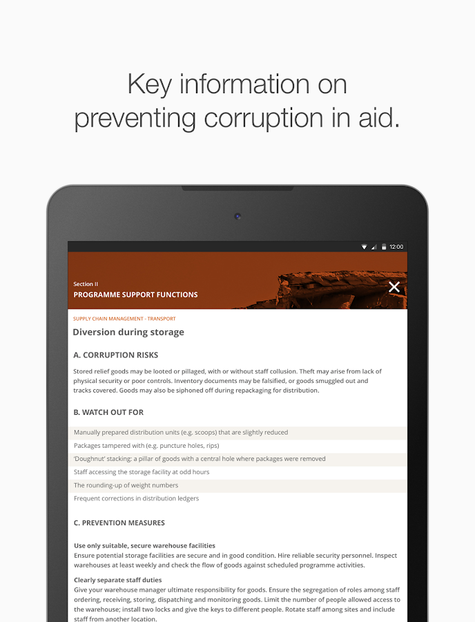 Preventing corruption in aid- screenshot