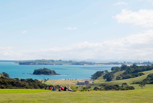 View-from-Cable-Bay-Vineyard-Waiheke-Island - The view from Cable Bay Vineyard on Waiheke Island near Auckland.