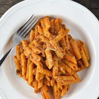 Penne Pasta with Ricotta and Tomato sauce.