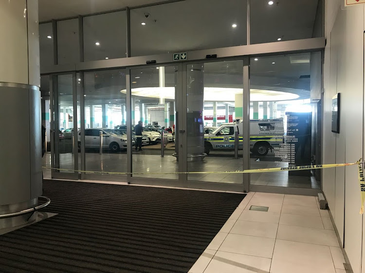 "Police and bomb technicians have cordoned off a parking structure at the Pavilion shopping centre in Durban after a ""suspicious device"" was spotted in a corner of the parking lot on July 9 2018."