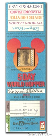 5 Day World Hopper Ticket from 1995 (Front Side)
