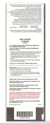 5 Day World Hopper Ticket from 1995 (Back Side)