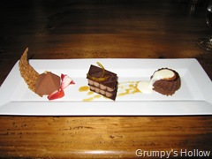 Miniature Chocolate Pyramid, Kona Chocolate Souffle and Orange Chocolate Napoleon