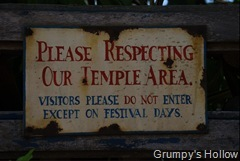 Please Respecting Our Temple Area
