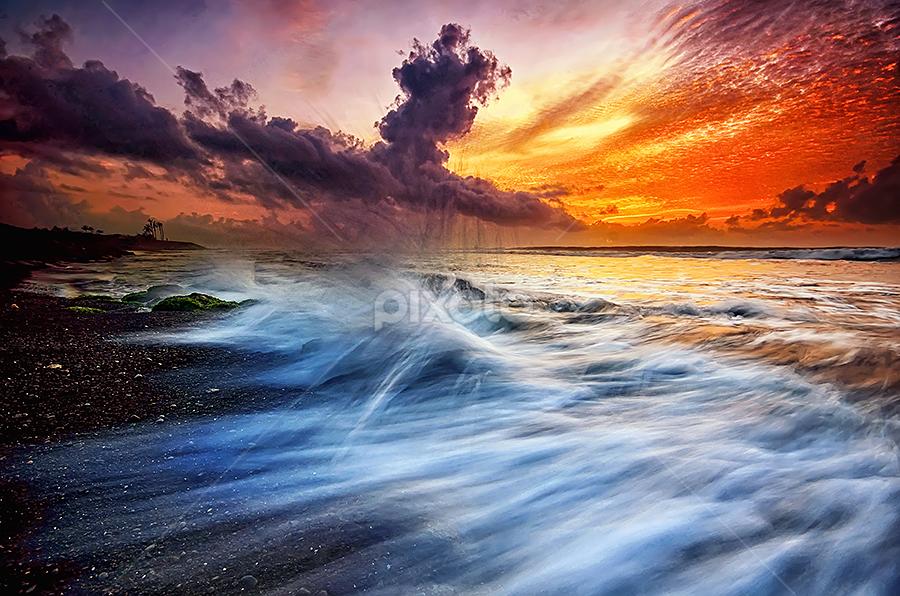 Manyar Soul by Hendri Suhandi - Landscapes Beaches ( clouds, bali, splash, manyar, mood, flow, sunrise, beach, motion )