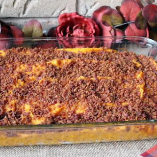 Bacon and Brown Sugar Topped Sweet Potato Bake