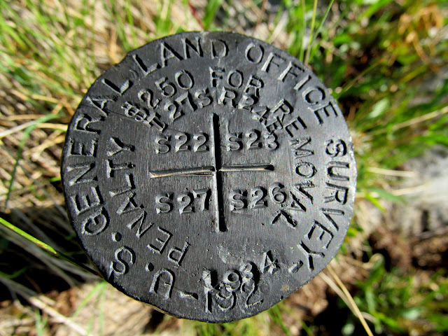 USGLO section corner marker, originally stamped for use in the 1920s but not used until 1934