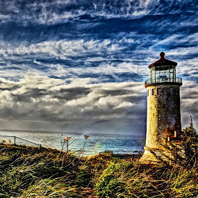 Stormy Skies by John Broughton - Buildings & Architecture Public & Historical ( waves, lighthouse, ocean, stormy skies )