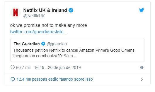 Netflix faz piada sobre o cancelamento de Good Omens