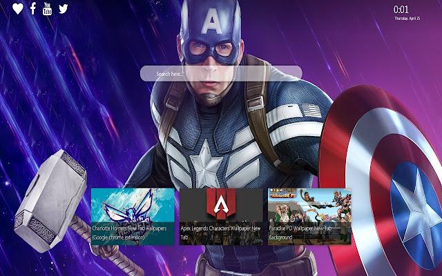 Captain America Mjolnir Wallpaper New Tab