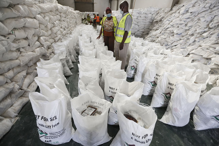 Some of the 20,000 bags of food at the Jaffar Foundation warehouse in Shimanzi.