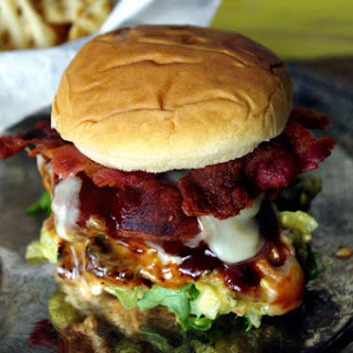 Fire Up the Grill – BBQ Bacon Fontina Burger with Peach Guacamole.