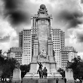 Cervantes Monument by Radu Moldovan - Buildings & Architecture Statues & Monuments ( reflection, madrid, spain )