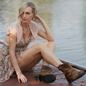 Springtime is here by Frank Photography - People Fashion ( afternoon, flowers, springtime, light, beutiful, legs, boots, model, blonde, short dress, lake, park )