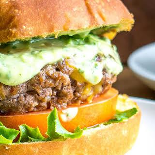 Chipotle Burgers with Creamy Avocado Sauce.