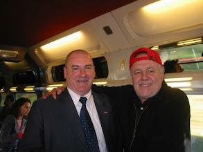Photo: Jean Maurice dit Je@nnot sur le TGV 8534 avec Marc Jolivet humoriste de retour à la capitale