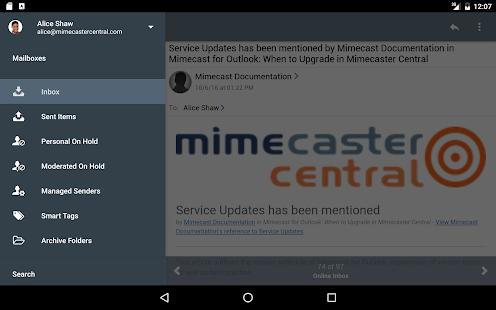 Mimecast Mobile- screenshot thumbnail