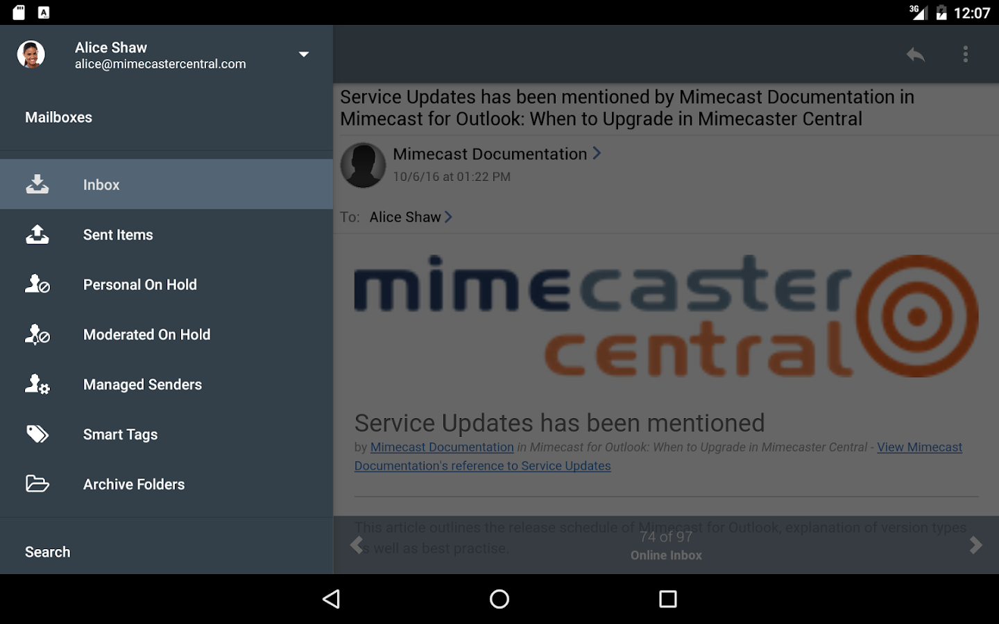 Mimecast Mobile- screenshot