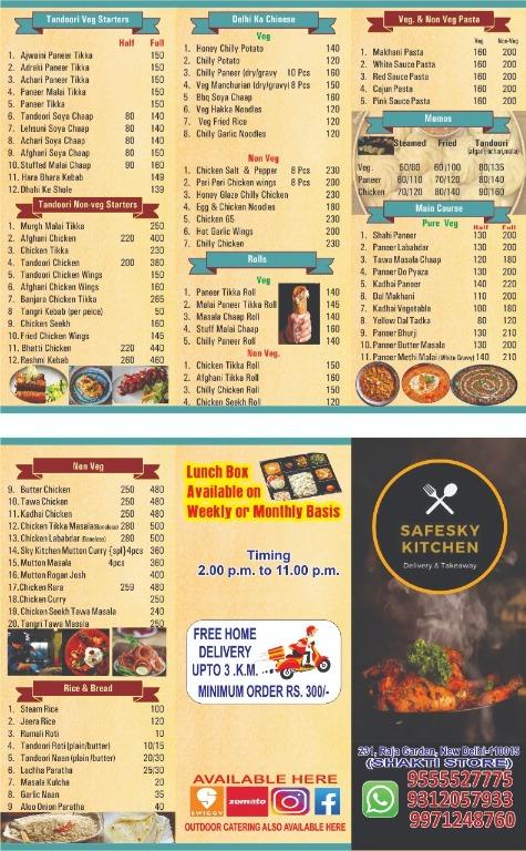 Safe Sky Kitchen menu 1