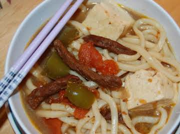 BEEF TOMATO W/TOFU AND UDON - Another japanese flavorful brothy dish