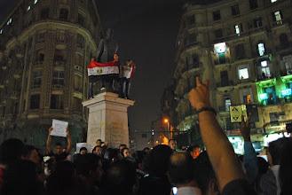 Photo: Protestors convene around Talat Harb Square for a candle light vigil dedicated to the lives lost during the Maspero massacre.