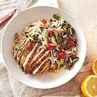 Greek Oregano Chicken with Spinach, Orzo, and Grape Tomatoes.